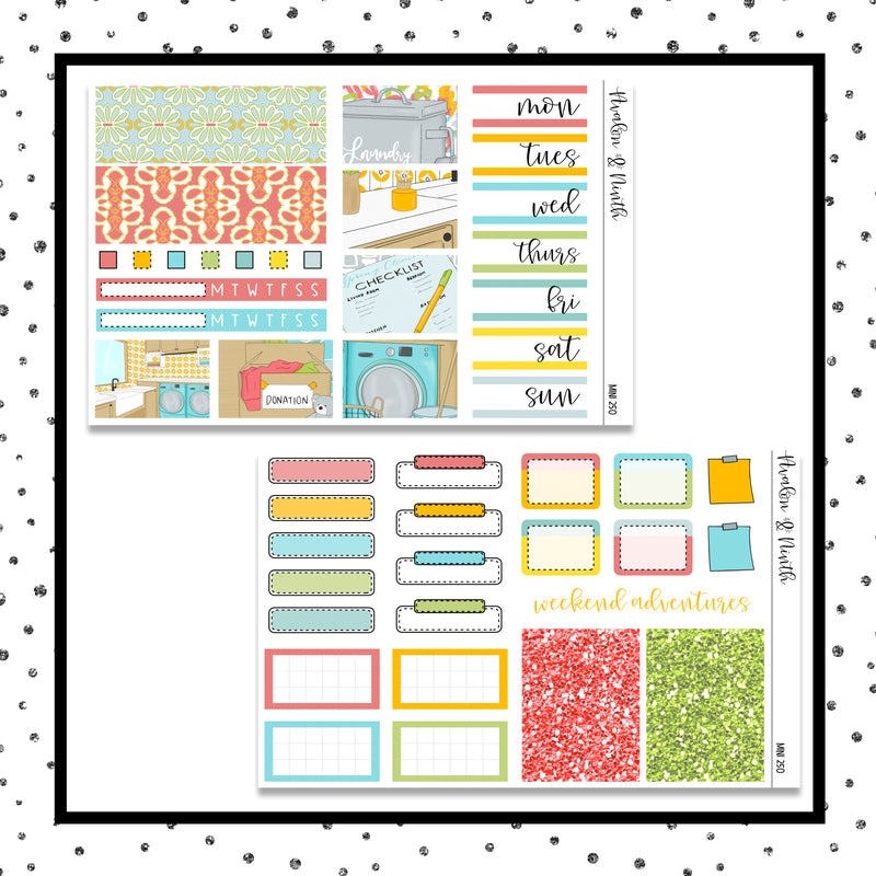 Cleaning Time Mini Kit // Planner Stickers // A&N Weeks // PPWeeks // MINI250