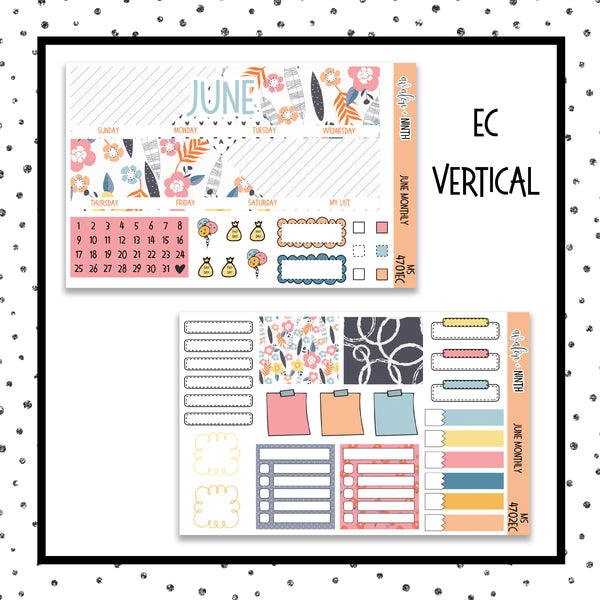 June Monthly Kit // Planner Stickers // MS4701