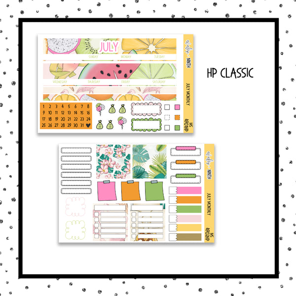 July Monthly Kit // HP Classic // Planner Stickers // MS4901HP