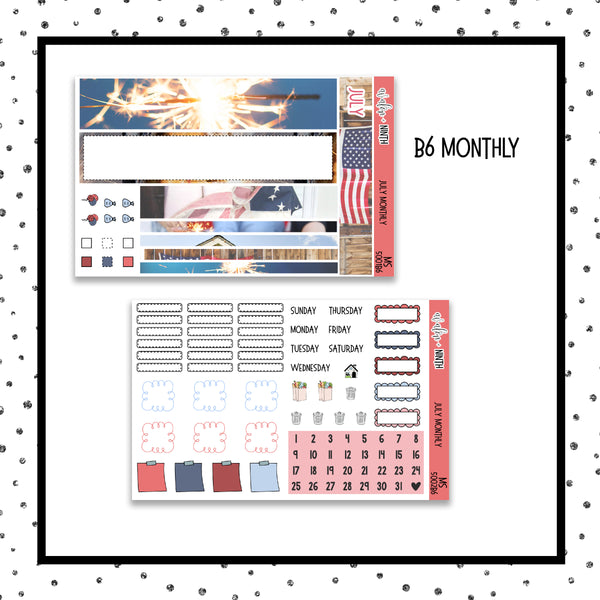 July Monthly Kit // B6 Planner // Planner Stickers // MS5001B6
