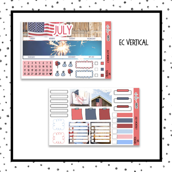July Monthly Kit // EC Vertical // Planner Stickers // MS5001EC