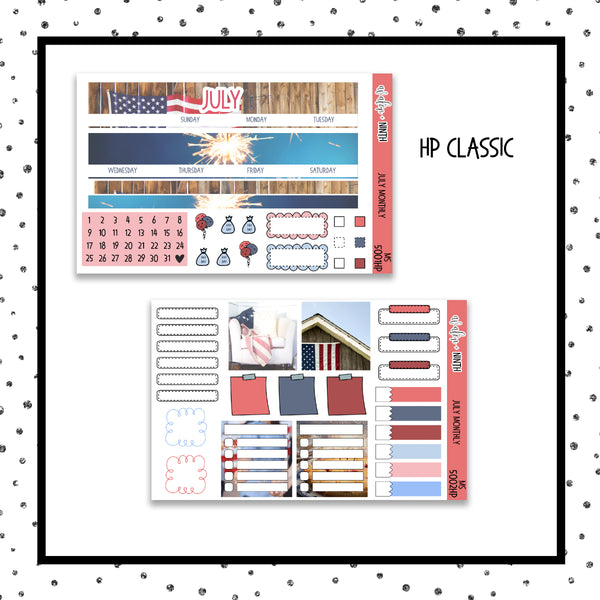July Monthly Kit // HP Classic // Planner Stickers // MS5001HP