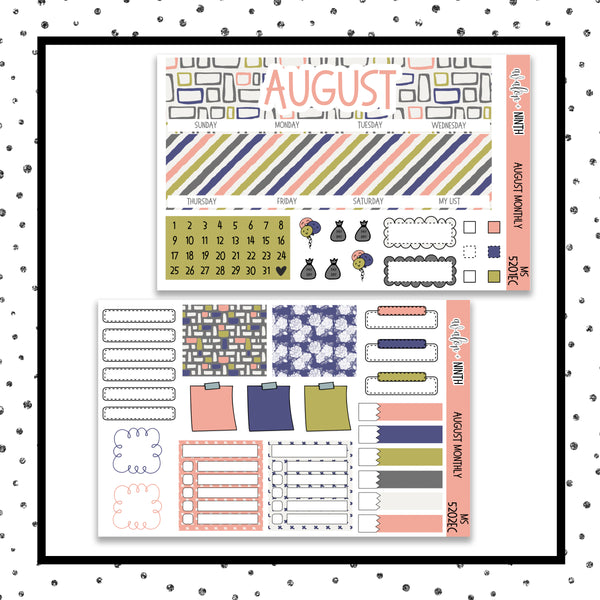August Monthly Kit // EC Vertical // Planner Stickers // MS5201EC