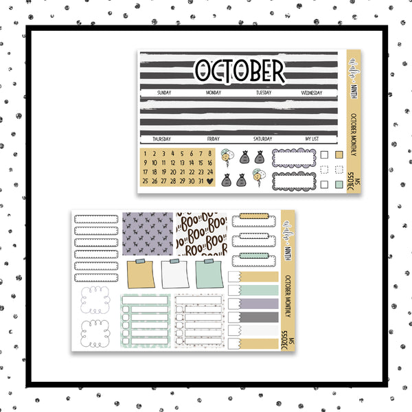 October Monthly Kit // EC Vertical // Planner Stickers // MS5501EC