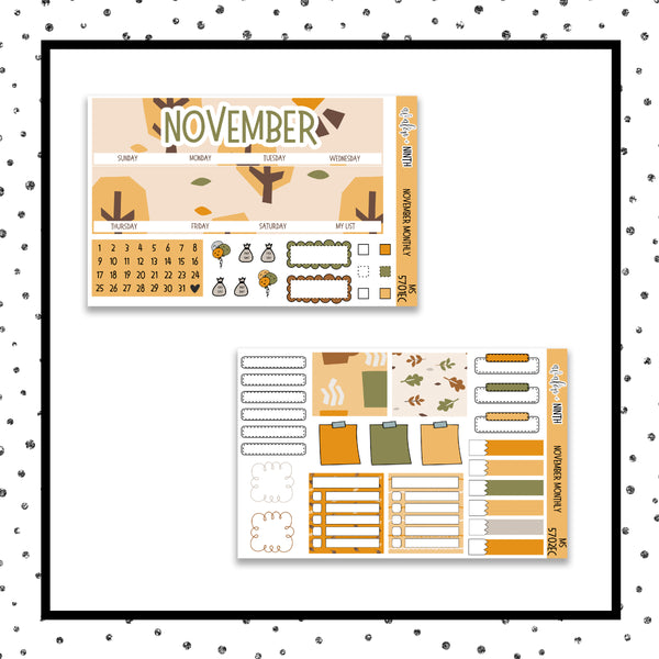 November Monthly Kit // EC Vertical // Planner Stickers // MS5701EC