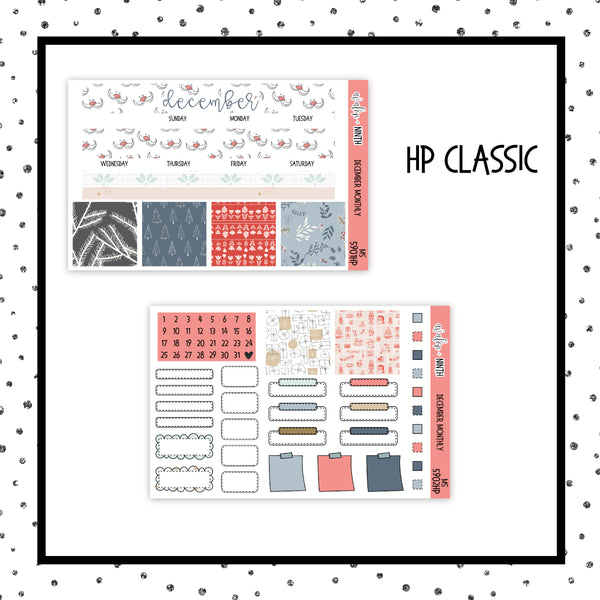 December Monthly Kit // HP Classic // Planner Stickers // MS5901HP