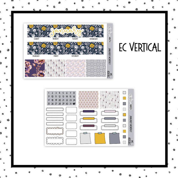 January Monthly Kit // EC Vertical // Planner Stickers // MS6001EC