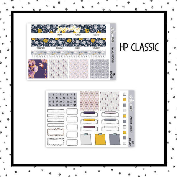 January Monthly Kit // HP Classic // Planner Stickers // MS6001HP