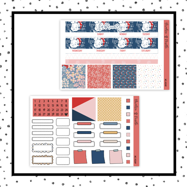February Monthly Kit // HP Classic // Planner Stickers // MS6101HP