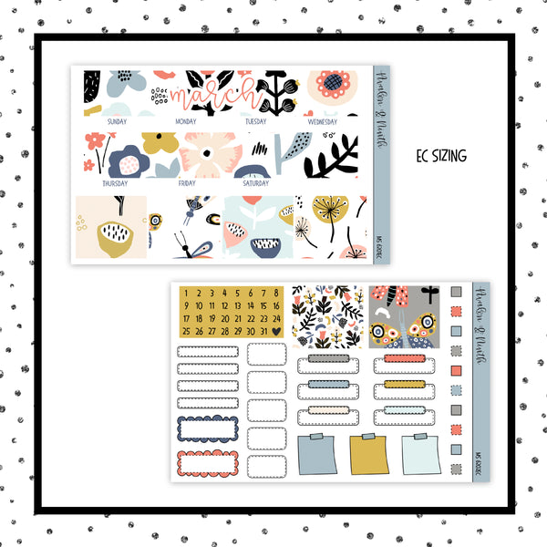March Monthly Kit // EC Vertical // Planner Stickers // MS6201EC