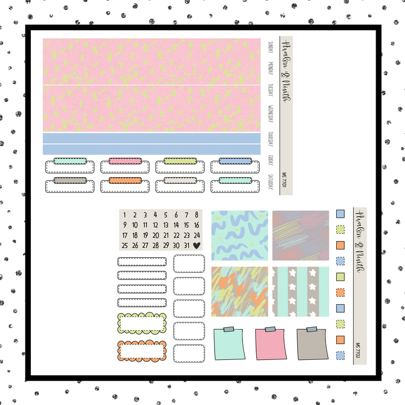 Monthly Layout  // Planner Stickers // MS7701