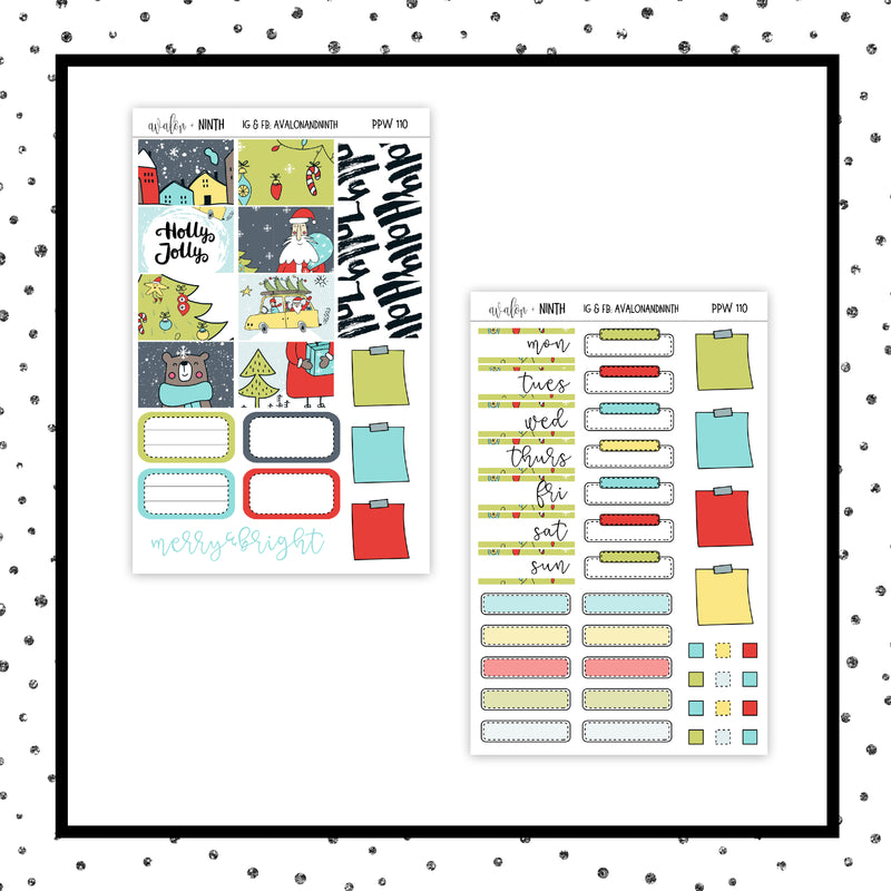 Holly Jolly PPWeeks Kit //  Planner Stickers // PPW110