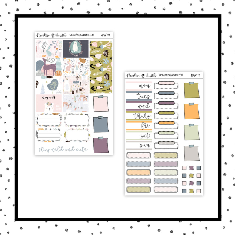 Stay Wild and Cute PPWeeks Kit //  Planner Stickers // PPW111