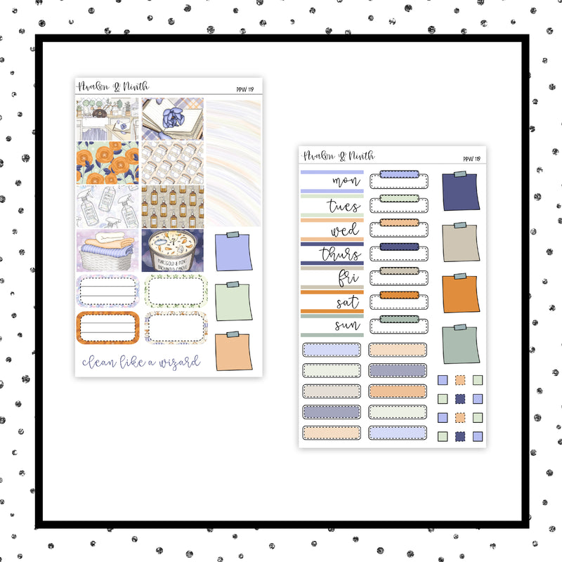 Cleaning Like A Wizard PPWeeks Kit //  Planner Stickers // PPW119