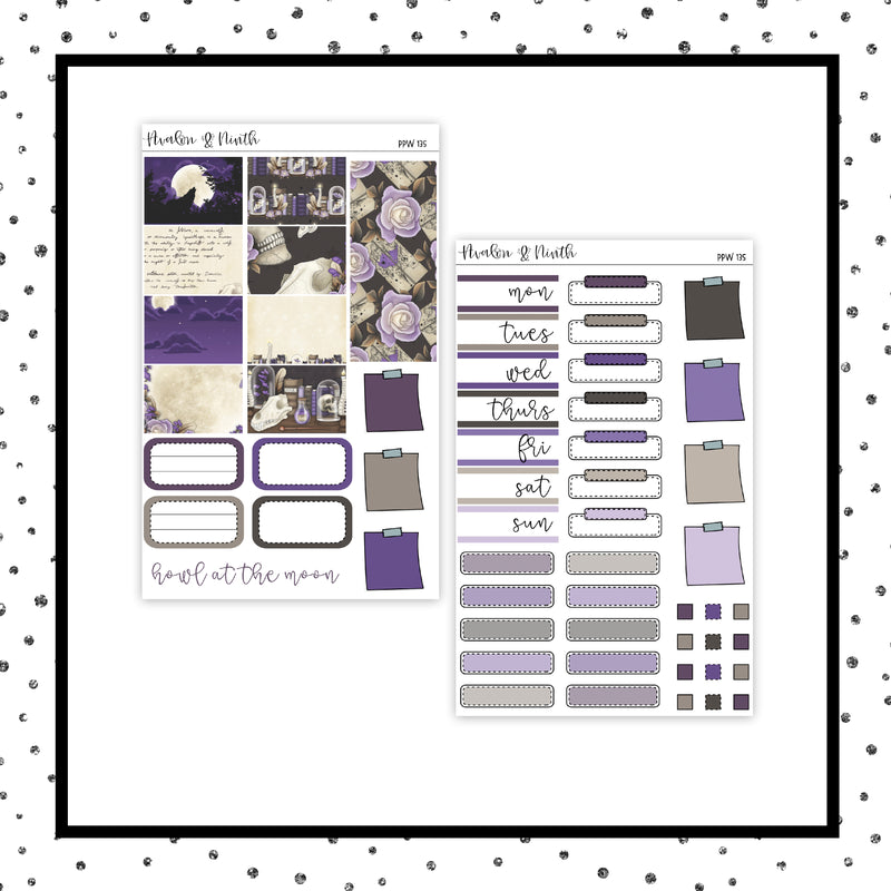 Howl At The Moon PPWeeks Kit //  Planner Stickers // PPW135