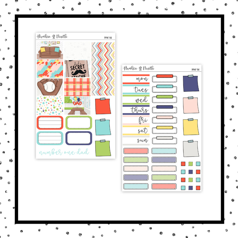 #1 Dad PPWeeks Kit //  Planner Stickers // PPW136