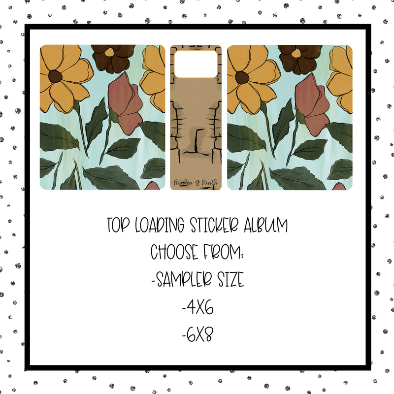 Teal Floral - Top Loading Sticker Album - Choose Your Size (Design 35)