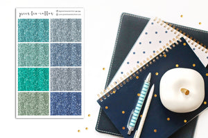 Glitter Headers // Light Blue and Green // Planner Stickers // GH104