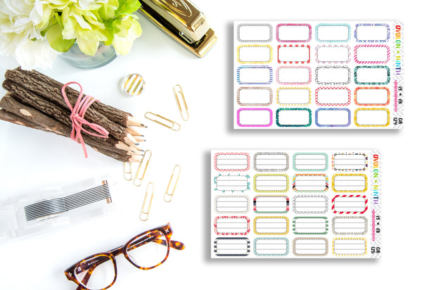 Third Box // 1/3 Height Boxes // Planner Stickers // QB124-125