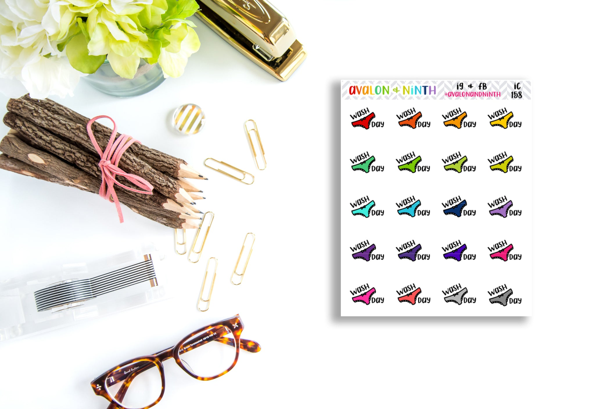 Wash Day // Laundry Day // Underwear Stickers // Planner Stickers // IC158