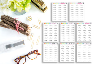 Script Words // Bullet Journal // Planner Stickers // SW125-132