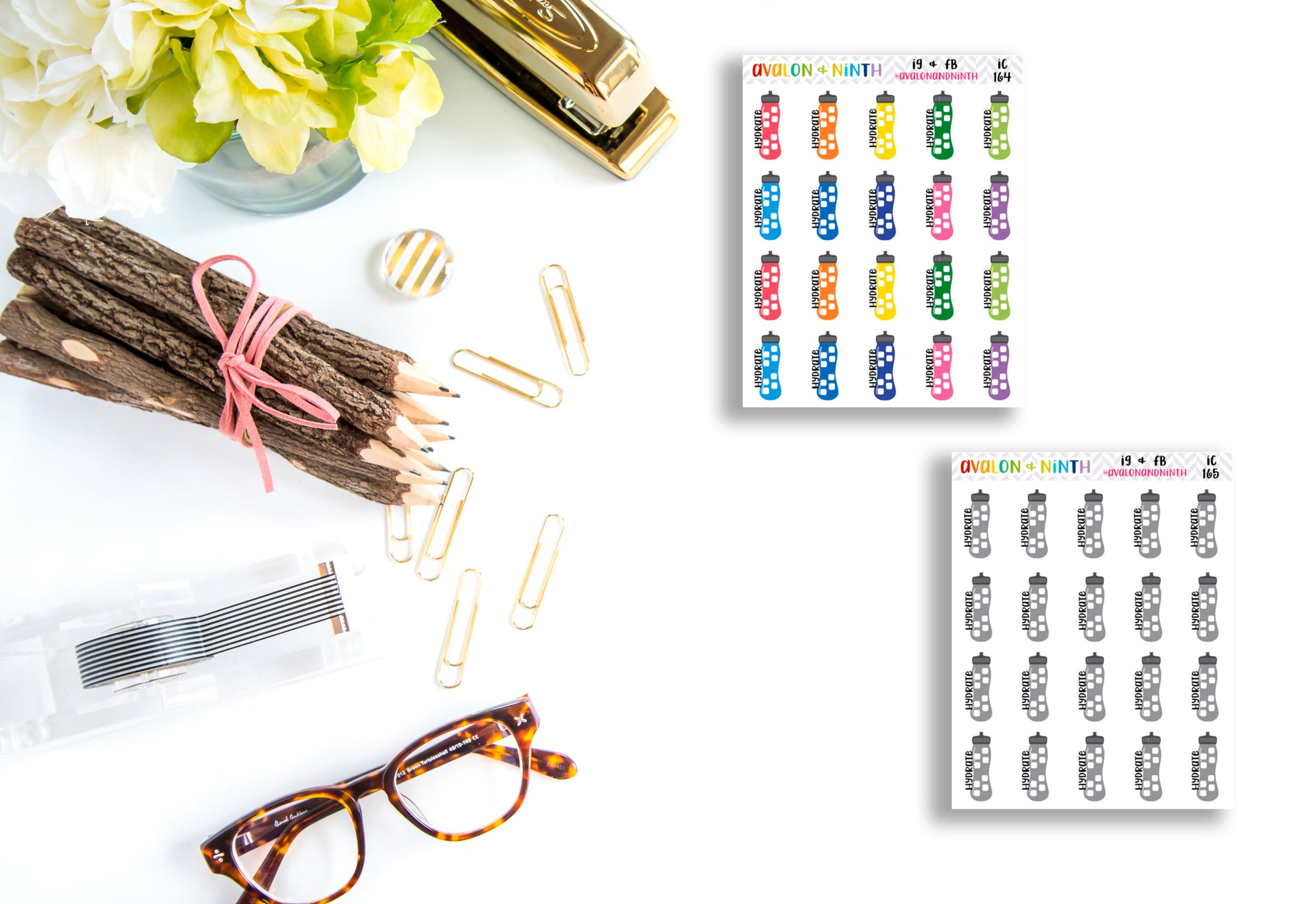 Hydrate Water Bottle // Planner Stickers // IC164-165