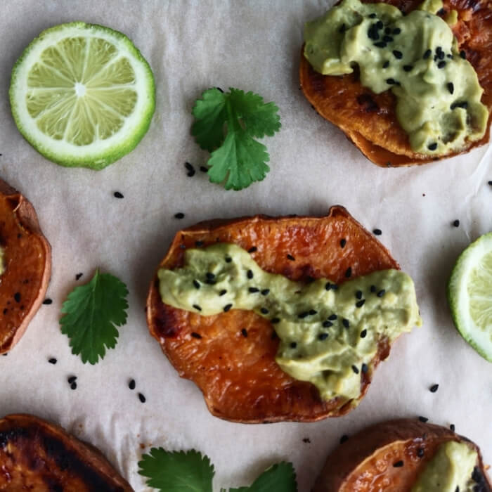 Baked Sweet Potato with Avocado Tahini Spread