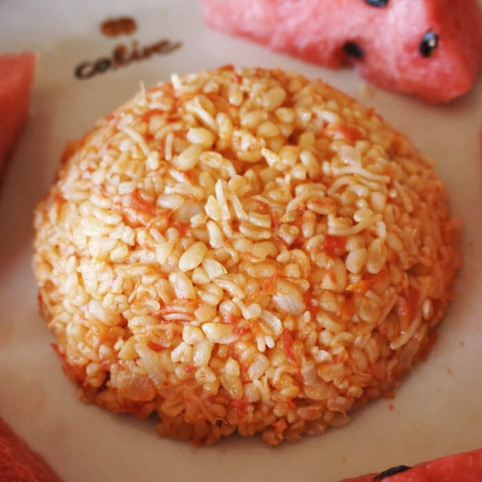 Bulgur Wheat Rice (Pilav) with Tomatoes