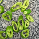 green peppers sliced in pan