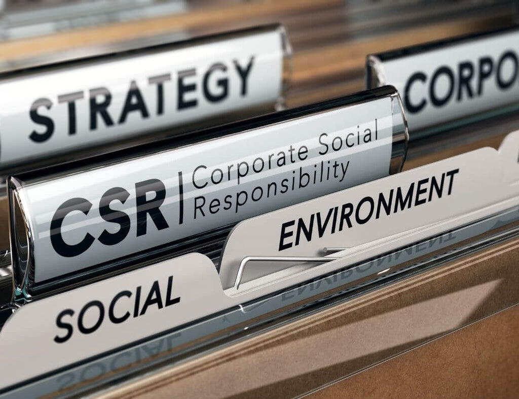 """A lot of folder separators, one of them reading """"CSR: Corporate Social Responsibility"""""""