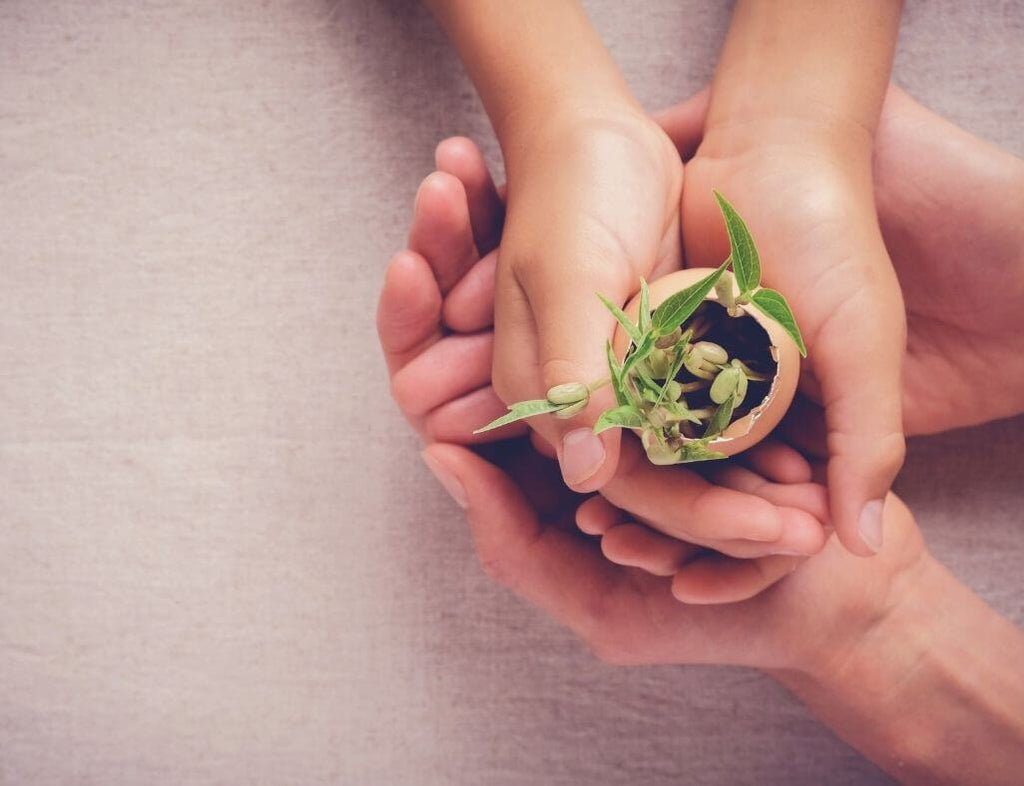A mom and daughter cusping their hand holding an egg shell with seeds growing in it