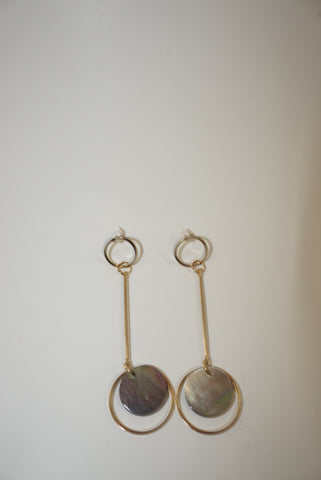 Dangling Geometric Abalone Earrings