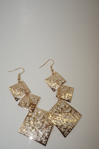 Geometric Mesh Gold Dangled Earrings