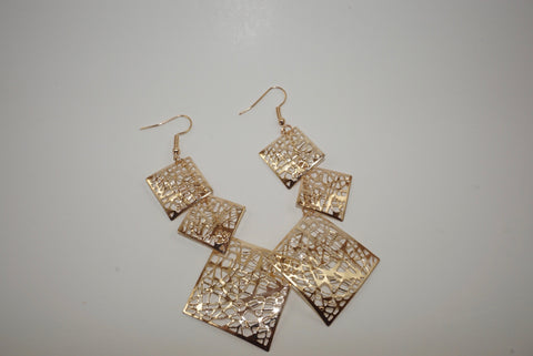 Triple Square Mesh Gold Earrings