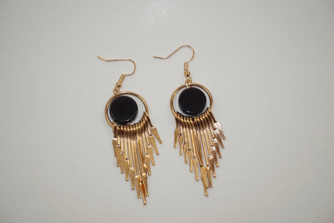 Gold and Silver Metal Feather Earrings