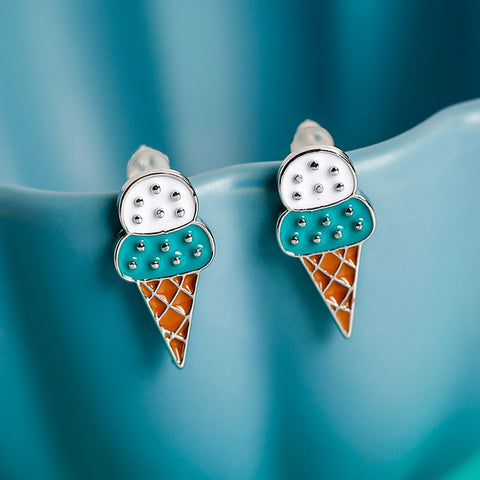 Mint and Vanilla Ice Cream Cone Earrings