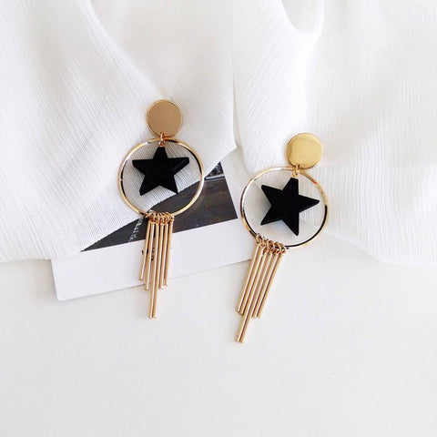 Wooden Star Tassel Earrings