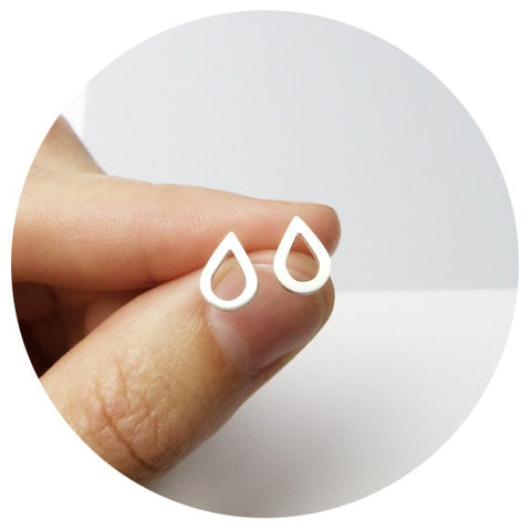 Geometric Droplet Stud Earrings