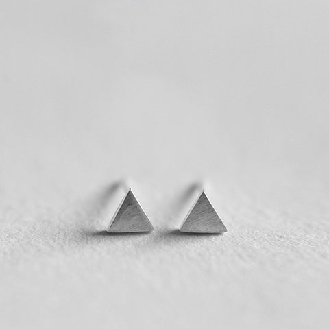 Brushed Metal Triangle Studs