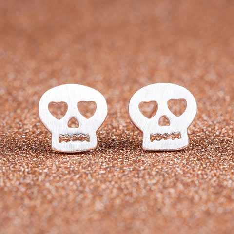 Brushed Metal Skull Stud Earrings