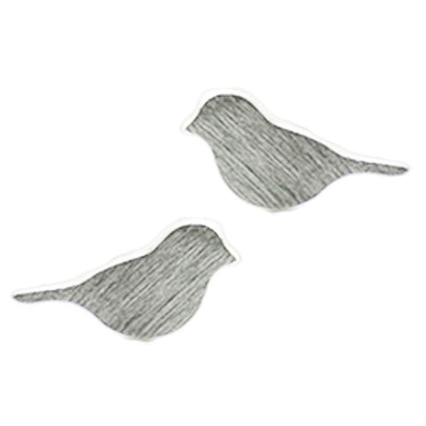 Brushed Metal Birdie Earrings