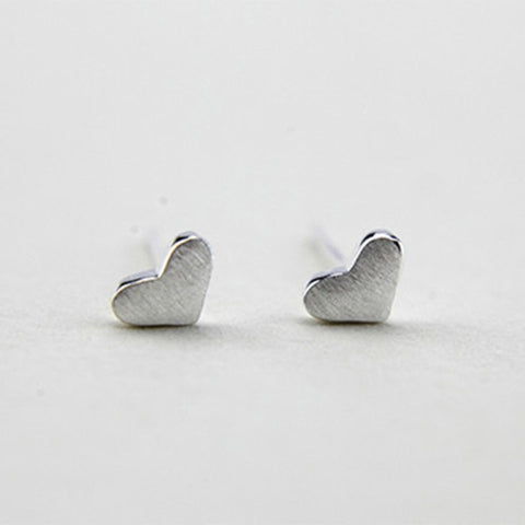 Brushed Metal Heart Studs