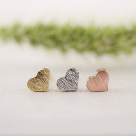 Brushed Metal Heart Earrings