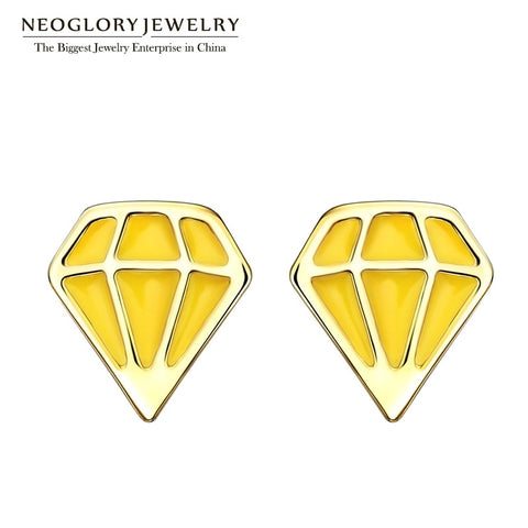 Golden Diamond Geometric Studs