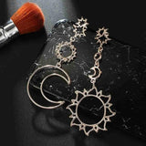 Bohemian Sun, Star and Moon Dangling Earrings