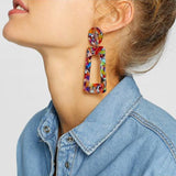 Speckled Acrylic Geometric Dangle Earrings