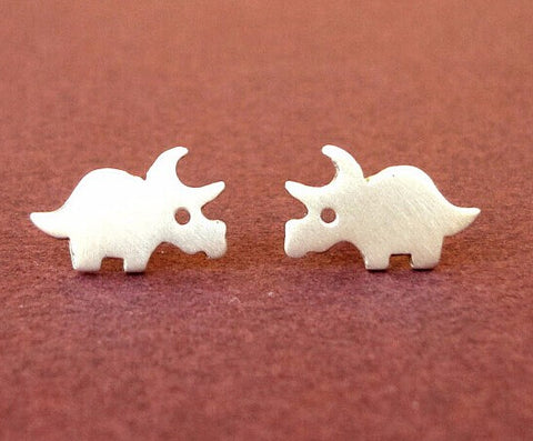 Triceratops Dinosaur Stud Earrings