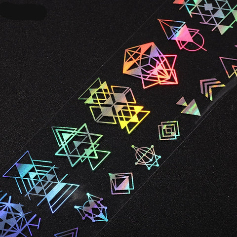 Neon Geometric Nail Stickers, Holographic Foil
