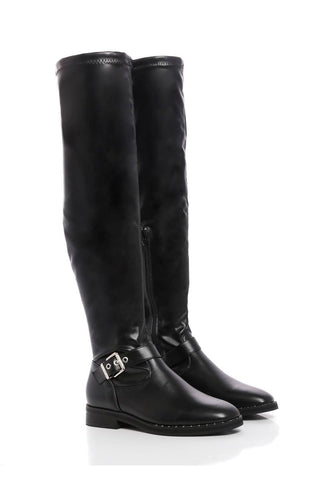 No Doubt Black Pu-Over The Knee Black Flat Boots