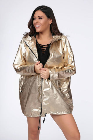Plus Draya High Shine Metallic Gold Parka